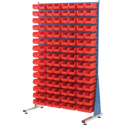 Barton Barton Steel Louvre Panel Starter Stand with Red Bins 1600 x 1000 x 500mm with 120 TC2 Red Bins - 73163 - from Toolstation