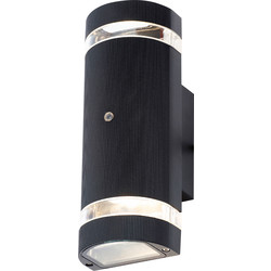 Zinc Helios Up and Down Black Dusk to Dawn Photocell Wall Light IP44 GU10 2 x 35W Max - 73459 - from Toolstation