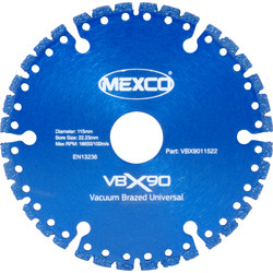 Mexco Mexco Specialist Vacuum Brazed Diamond Blade 115mm - 73618 - from Toolstation