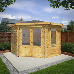 Mercia Mercia Corner Cabin - 28mm 3m x 3m Double Glazed - 73643 - from Toolstation