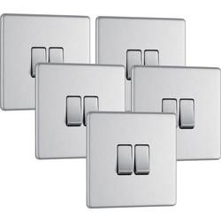 BG BG Screwless Flat Plate Brushed Stainless Steel 10AX Light Switch 2 Gang 2 Way Trade Pack - 73691 - from Toolstation