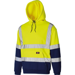 Dickies Two Tone High Vis Hoodie Yellow / Navy Large