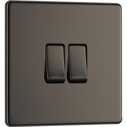 BG BG Screwless Flat Plate Black Nickel 10AX Light Switch 2 Gang 2 Way - 73784 - from Toolstation