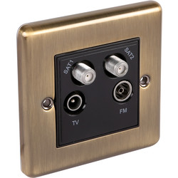 Wessex Electrical Antique Brass TV / Satellite Socket 1 Gang Satellite/TV/FM - 73810 - from Toolstation