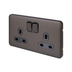 Schneider Electric Lisse Mocha Bronze Screwless 13A DP Switched Socket