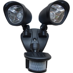 Zinc LED Twinspot PIR Floodlight IP44 2x 3W Superbright - 74078 - from Toolstation