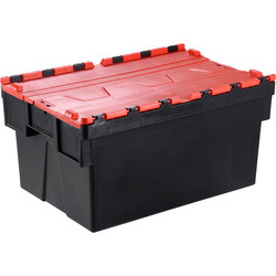 Barton Euro Container 65L with Attached Lid 600 x 400 x 365mm - Red Lid - 74129 - from Toolstation