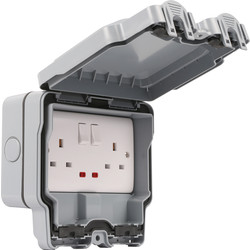 Wessex Wiring Wessex IP66 13A DP Switched Socket 2 Gang - 74162 - from Toolstation