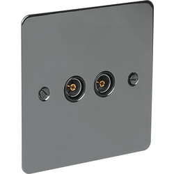 Flat Plate Black Nickel TV Socket Outlet TV Twin - 74242 - from Toolstation