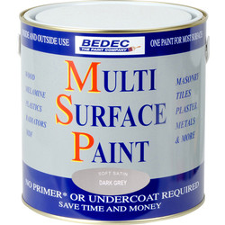 Bedec Bedec Multi Surface Paint Satin Dark Grey 2.5L - 74248 - from Toolstation