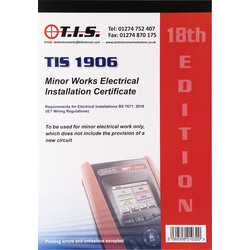 TIS TIS Test Certificate Book Minor Works - 74251 - from Toolstation
