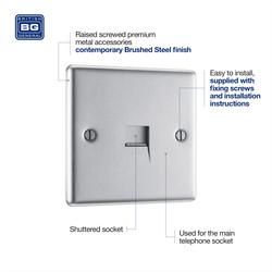 BG Brushed Steel Telephone Socket