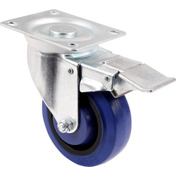 General Duty Electric Blue Castor Swivel + Brake 100mm / 125kg - 74420 - from Toolstation
