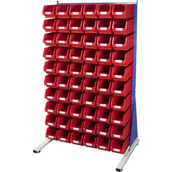 Barton Barton Steel Louvre Panel Starter Stand with Red Bins 1600 x 1000 x 500mm with 60 TC3 Red Bins - 74563 - from Toolstation