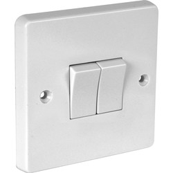 Crabtree Crabtree 10A Light Switch 2 Gang 2 Way - 74693 - from Toolstation