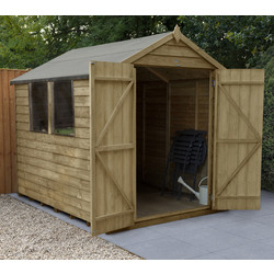 Forest Forest Garden Overlap Pressure Treated Double Door Apex Shed 8' x 6' - 74799 - from Toolstation