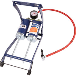 Draper Twin Cylinder Foot Pump & Gauge