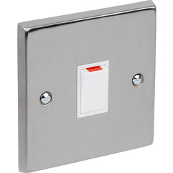 Satin Chrome / White Double Pole Switch 20A - 74926 - from Toolstation