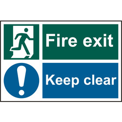 PVC Fire Exit Keep Clear Sign Fire Exit Keep Clear - 75057 - from Toolstation