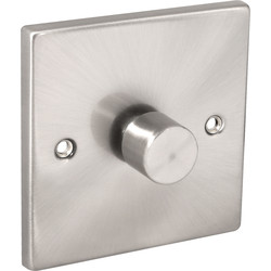 Click Deco Click Deco Satin Chrome Dimmer Switch 1 Gang 2 Way 400W - 75072 - from Toolstation