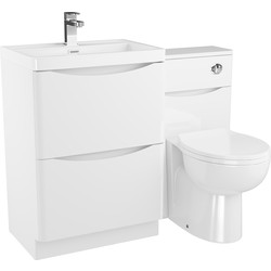 Cassellie 2 Drawer Curve Bathroom Unit Gloss White - 75150 - from Toolstation
