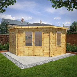 Mercia Mercia Corner Cabin - 34mm 4m x 4m Double Glazed - 75260 - from Toolstation