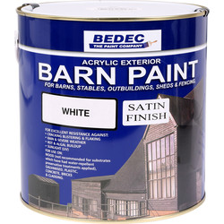 Bedec Barn Paint Satin White 2.5L