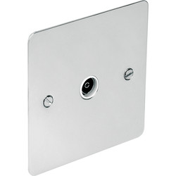 Flat Plate Polished Chrome TV / Satellite Socket TV Single - 75859 - from Toolstation