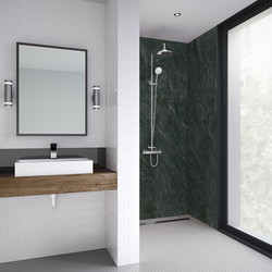 Mermaid Mermaid Sicilian Slate Natural Laminate Shower Wall Panel Square Edged 2420mm x 900mm - 75884 - from Toolstation