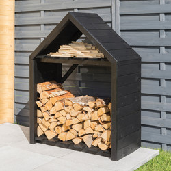 Rowlinson Rowlinson Black Apex Log Store 121cm (h) x 92cm (w) x 35.5cm (d) - 76073 - from Toolstation
