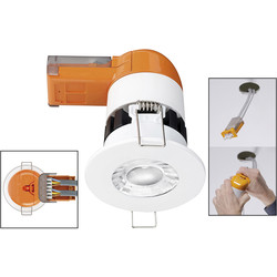 Enlite Enlite E6 Pro 6W Fixed Dimmable Fire Rated LED Downlight Warm White 580lm - 76114 - from Toolstation