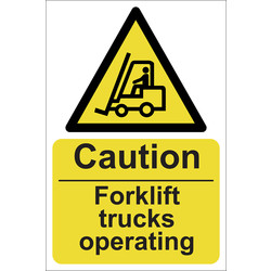 Caution Fork Lift Trucks Operating Sign 200 x 300mm - 76256 - from Toolstation