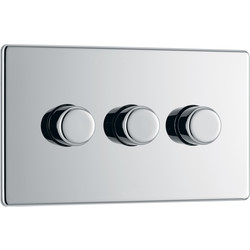 BG BG Screwless Flat Plate Polished Chrome Dimmer Switch 3 Gang 2 Way - 76408 - from Toolstation