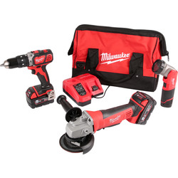 Milwaukee M18SET2A-513B 18V Li-Ion Cordless Combi Drill, Angle Grinder & M12 LED Torch Kit 2 x 5.0Ah 18V & 1 x 1.5Ah 12V