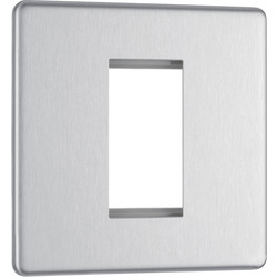 BG Screwless Flat Plate Brushed Stainless Steel Data Plate 1 Gang  1 Module - 76509 - from Toolstation