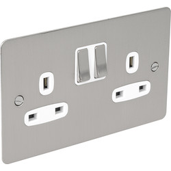 Flat Plate Satin Chrome 13A Socket 2 Gang Switched SP - 76681 - from Toolstation