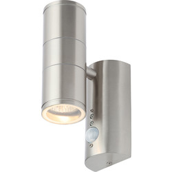 Coast Islay IP44 Marine Grade 316 Stainless Steel Up & Down PIR Wall Light 2 x GU10 Stainless - 76685 - from Toolstation