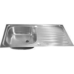 Maine Stainless Steel Single Bowl Kitchen Sink & Drainer 965 x 500 x 165mm Deep - 76762 - from Toolstation