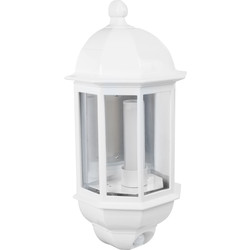 Green Lighting P-Lux 8W LED Photocell & PIR Half Lantern White - 77193 - from Toolstation