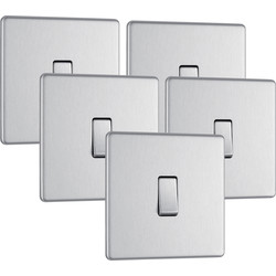BG BG Screwless Flat Plate Brushed Stainless Steel 10AX Light Switch 1 Gang 2 Way Trade Pack - 77336 - from Toolstation