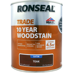 Ronseal Ronseal 10 Year Exterior Satin Woodstain 750ml Teak - 77416 - from Toolstation
