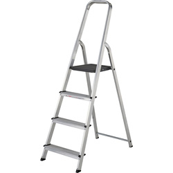 Werner High Handrail Step Ladder 4 Tread SWH 2.55m - 77613 - from Toolstation