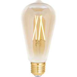 4lite WiZ 4lite WiZ LED ST64 Smart Filament Wi-Fi Bulb 6.5W ES 720lm Amber - 77883 - from Toolstation