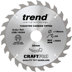 Craft Trend Craft Circular Saw Blade 190 x 24T x 30mm CSB/19024 - 78006 - from Toolstation