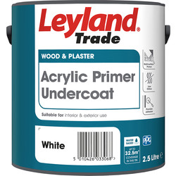 Leyland Trade Acrylic Primer Undercoat Paint White 2.5L