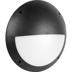 Meridian Lighting LED 12W IP66 Circular Eyelid Bulkhead 300mm 1080lm A+ Black - 78263 - from Toolstation
