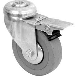 Grey Rubber Castor Braked 75mm - 78309 - from Toolstation
