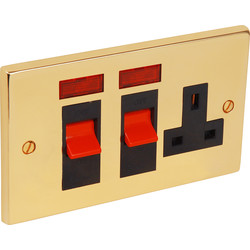 Victorian Cooker Socket & Neon 45A - 78535 - from Toolstation