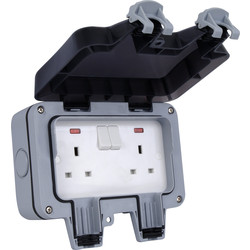 BG BG IP66 13A Switched Socket 2 Gang - 78539 - from Toolstation