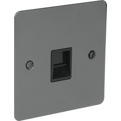 Flat Plate Black Nickel Telephone Socket Slave - 78685 - from Toolstation